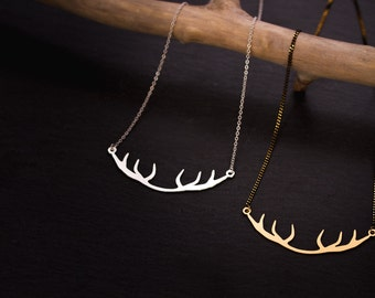 Deer silver matte, matte silver chain necklace