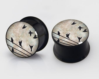 Birds on Wire EarsPlugs,Birds Flesh Tunnels,Tapers,plugs stretching ,Screw on ,Flare Plugs, Birds on a wire,free gift box included,piercing