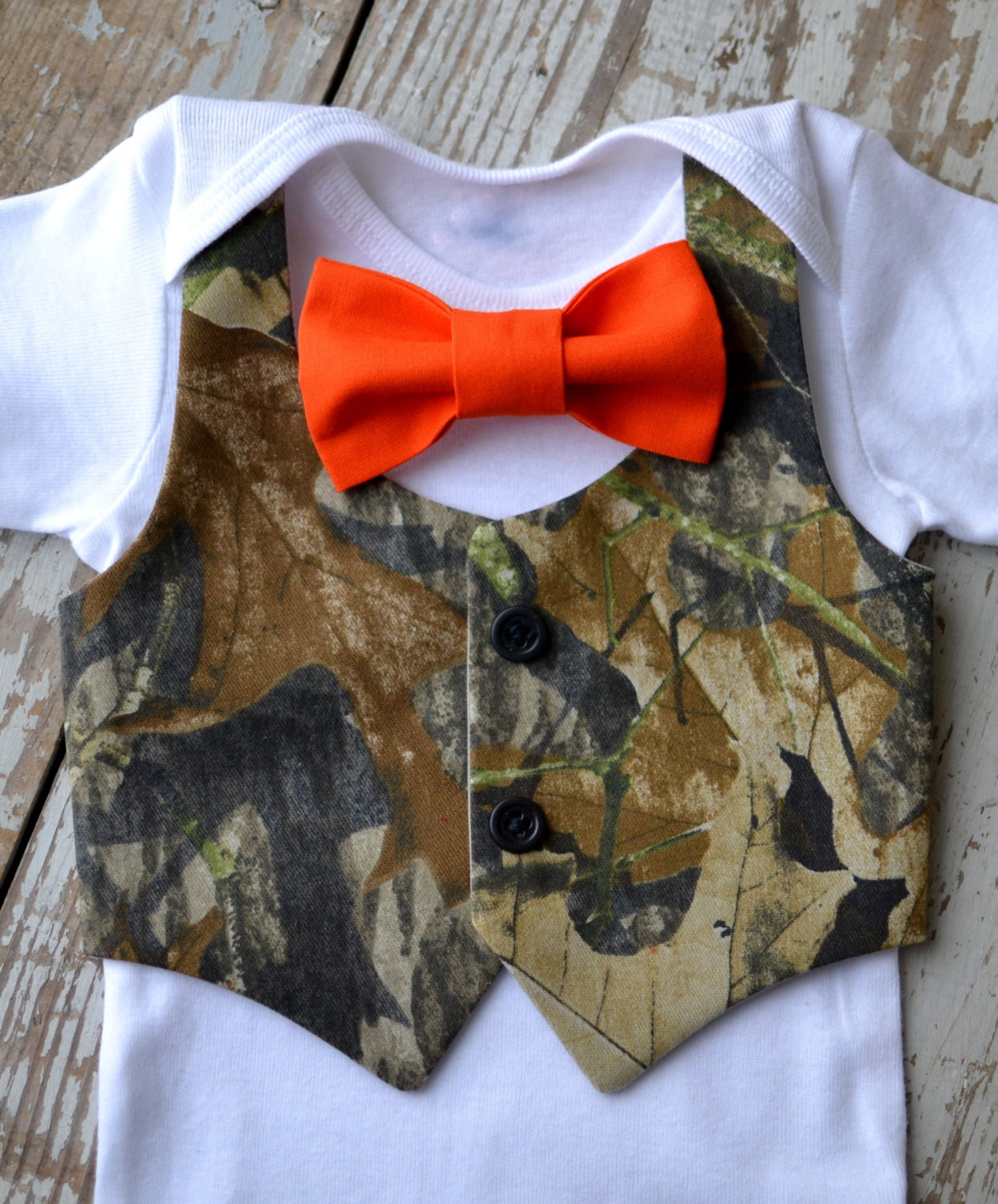 Baby Boy Clothes Camo Orange Bow Tie Camouflage Vest Outfit