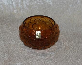 Vintage 60s bubbly amber glass Bowl. Designed by Sirkku Kumela-Lehtonen for Kumela Riihimäki, Finland Scandinavian.