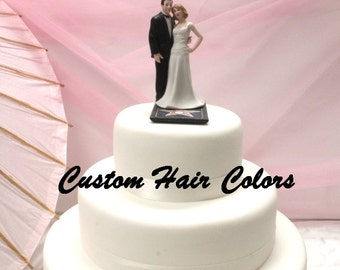 Wedding Cake Topper - Hollywood Glamor Couple - Bride and Groom - Celebrity Cake Topper - Personalized Cake Topper - Black Tie and Gown