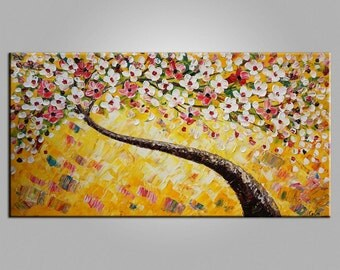 XL Large Painting Canvas Art Framed Art Original Art Abstract Art Impasto Texture Palette Knife Art Canvas Painting Flower Tree Painting