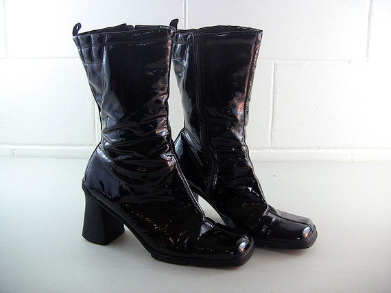 vintage disco boots patent leather boots by