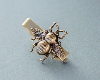 Bee Tie Clip Men's Tie Clip Bee Tie Bar Steampunk Tie Clip Animal Insect Antique Brass Men's Accessories Gifts for Him Valentine's Day Gift