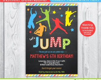 jump invitation / bounce house invitation / trampoline party invitation / trampoline invitation / trampoline birthday invitation / INSTANT