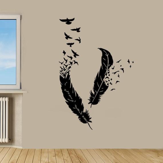 Oiseaux wall stickers oiseaux qui volent de plumes salon wall for Decor traduction
