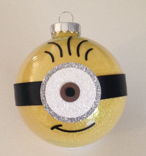 Minion Christmas Glitter Ornament 3 25 Glass Ball By Makeitamy