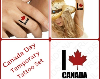 Temporary Tattoo 4 Canada Day I Love Canada Waterproof Ultra Thin Realistic Fake Tattoos