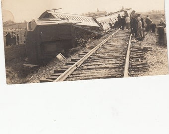 RPPC Real Photographic Postcard Reed City Michigan Train Wreck
