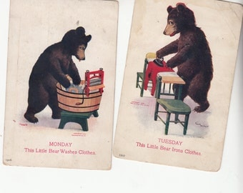 C1910 Set Of 7 Days Of The Week Brown Bears,Hard To Find Charming Bears At Work Postcard