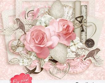 Gentle Love - Digital Scrapbook Elements - F011 - Instant Download