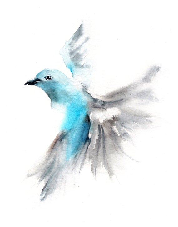 Watercolor Bird Flying Flying Bird Blue Tanager