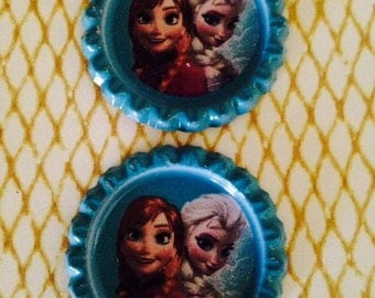 CLEARANCE - Anna and  Elsa   33*33mm Flattened Bottle Caps for DIY Hairbow Necklace Accessories and more.