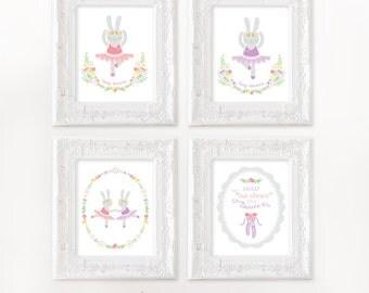 Rabbit nursery art, Set of 4, Ballet nursery art, Bunny nursery art, Woodland nursery, Girl nursery print, tiny dancer art, rabbit nursery