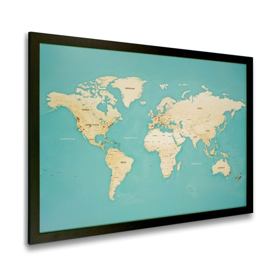 Modern World Map With Pins Black Frame by MapRepublic on Etsy