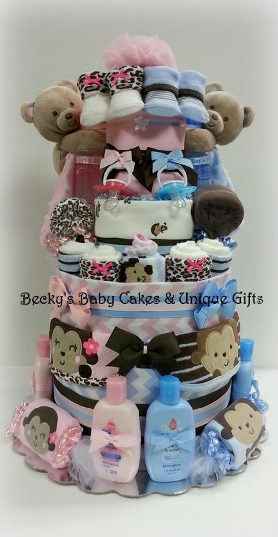 Items similar to twin diaper cake boy girl twin baby for Baby shower decoration twins