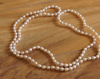 Necklace Vintage Mother of Natural Pearls 4mm x 5mm Rice, One Full Strand Beads, Cultured Freshwater, Spring Pastels, Blush, Champagne W-076