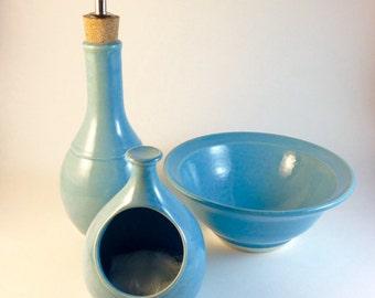 olive oil cruet, oil cruet, pottery, turquoise,