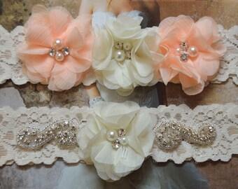 Bridal Garter Set, Wedding Garter Set, Ivory Lace Garter, Ivory Garter Set, Bridal Accessories, Violet Style 10355