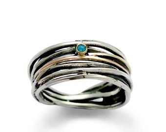 silver and opal wedding ring sterling silver wrapped band mixed metals ring blue - Opal Wedding Ring
