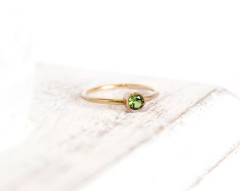 Peridot Ring - August Birthstone Ring - 14k Gold Fill or Sterling Silver - Stacking Ring - Simple Ring - Green Peridot Jewelry - Lime Green