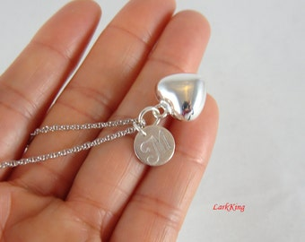 Sterling silver heart necklace, personalized initial necklace, monogram necklace, initial necklace, initial necklace, stamped necklace, PN15