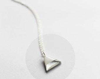 contemporary pendant triangle pendant white and silver pendant small pendant necklace silver jewellery white jewelry long silver necklace