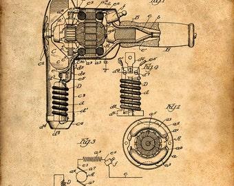 Patent Print of a Hair Drier - Patent Art Print - Patent Poster - Beauty Poster - Hair Dryer - Beauty Art - Hairdresser