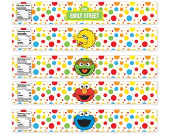 Personalized Printable Sesame Street Water Bottle Labels / Food Labels / Custom Name and Age