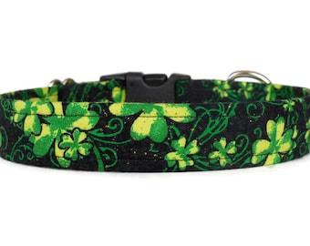 SALE! Lucky Dog Four Leaf Clover Dog Collar - St. Patrick's Day - Shamrock Dog Collar (Medium Buckle)