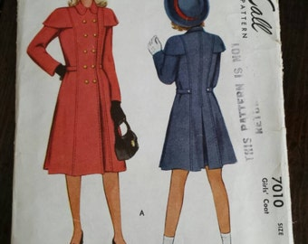 1947 Vintage McCall Sewing Pattern Girls' Coat 7010
