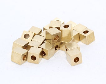 50 Pcs 6mm Raw Brass Cube Beads, Solid Brass Cube Beads, industrial spacer, Spacer Beads, KA42