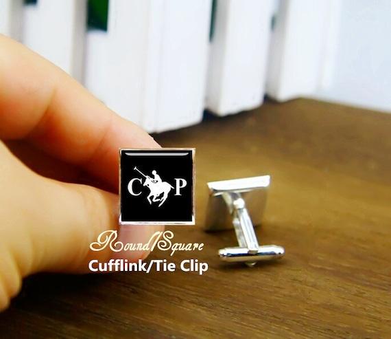 horse game cufflinks, horse play cufflinks, team cufflinks, horse club, custom initial cufflinks, round, square cufflinks, tie clips, set