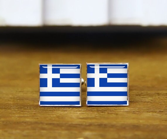 greece flag cufflinks, custom national flag, greece cufflinks, greece, custom wedding cufflinks, round, square cufflinks, tie clips, or set