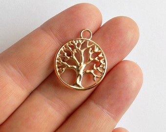 5 Tree of Life Charms - Rose Gold Plated -Tree of Life Pendants - #RG0004