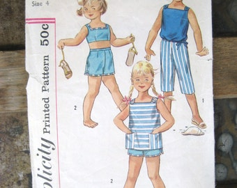1950s Girls Summer Top, Capris & Shorts Vintage Pattern, Simplicity 2095, Size 4