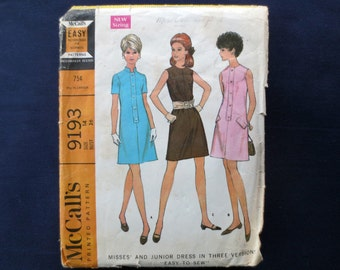 1968 Short Sleeve or Sleeveless Dress Vintage Pattern, McCalls 9193, Size 14, Bust 36
