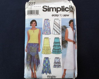 Ruffled Skirt Uncut Pattern, Easy to Sew, Simplicity 7227, Size 12, 14, Plus Size 16, 18