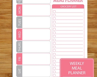 Weekly Meal Planner Printable - Pink and Gray - Weekly Meal and Shopper Planner Page - 8.5 x 11 - Grocery List Meal Printable