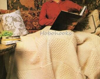 CROCHET aran style afghan blanket Crochet throw Crochet blanket - 143 cm by 191cm - Aran yarn - Crochet Pattern - PDF instant download