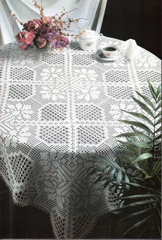 CROCHET PATTERN Crochet Tablecloth Filet Crochet by Hobohooks