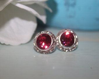 Indian Pink Crystal Post Earrings 13mm Chaton