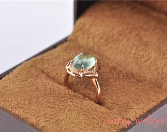 Prehnite ring in 14k rose gold with diamonds Handcrafted 3.1 carat Prehnite Gemstone Ring/Gift/Engagement ring/Anniersary ring/Green jewelry