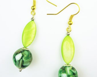Spring Green Mother Of Pearl & MOP-In-Resin Dangle Earrings