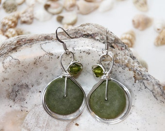 Olive Green Earrings, Crystal Jewelry, Green Earrings, Bohemian Jewelry, Sage Green, Bead and Wire, Big Green Earrings, Green Drop Earrings