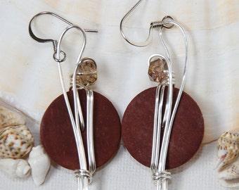 Big Brown Earrings, Earth Tones, Auburn Earrings, Autumn Earrings, Brown Jewelry, Long Earrings, Earth Tone Jewelry, Costume Jewelry