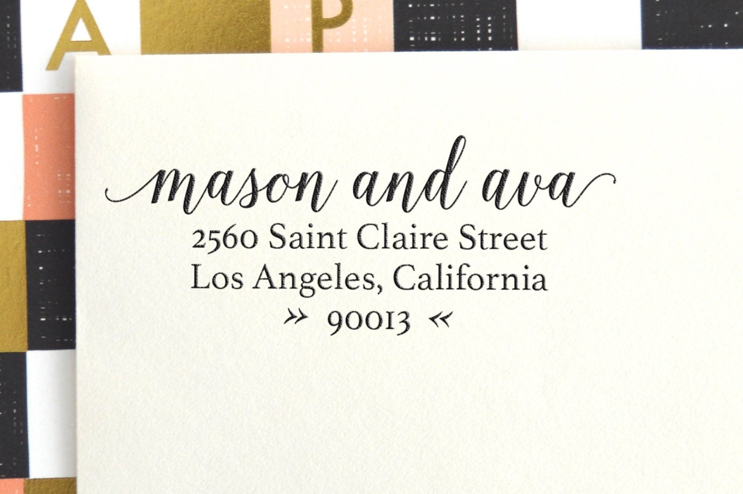 Calligraphy Return Address Stamp Self Inking By Freshinkstamps