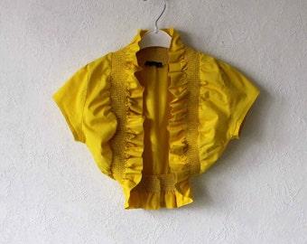 Women's Cotton  Citrine Yellow  Bolero XSmall Size