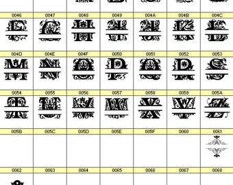 Split Regal Monogram font (all 26 letters of the alphabet, plus 2 bonus characters)
