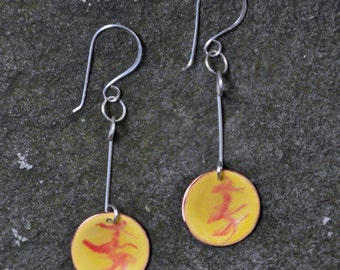 Yellow painted disc earrings